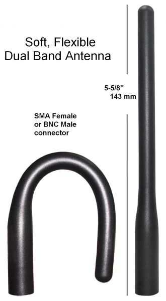 Soft, Flexible Dual Band Antenna    Choose either BNC Male or SMA Female connector